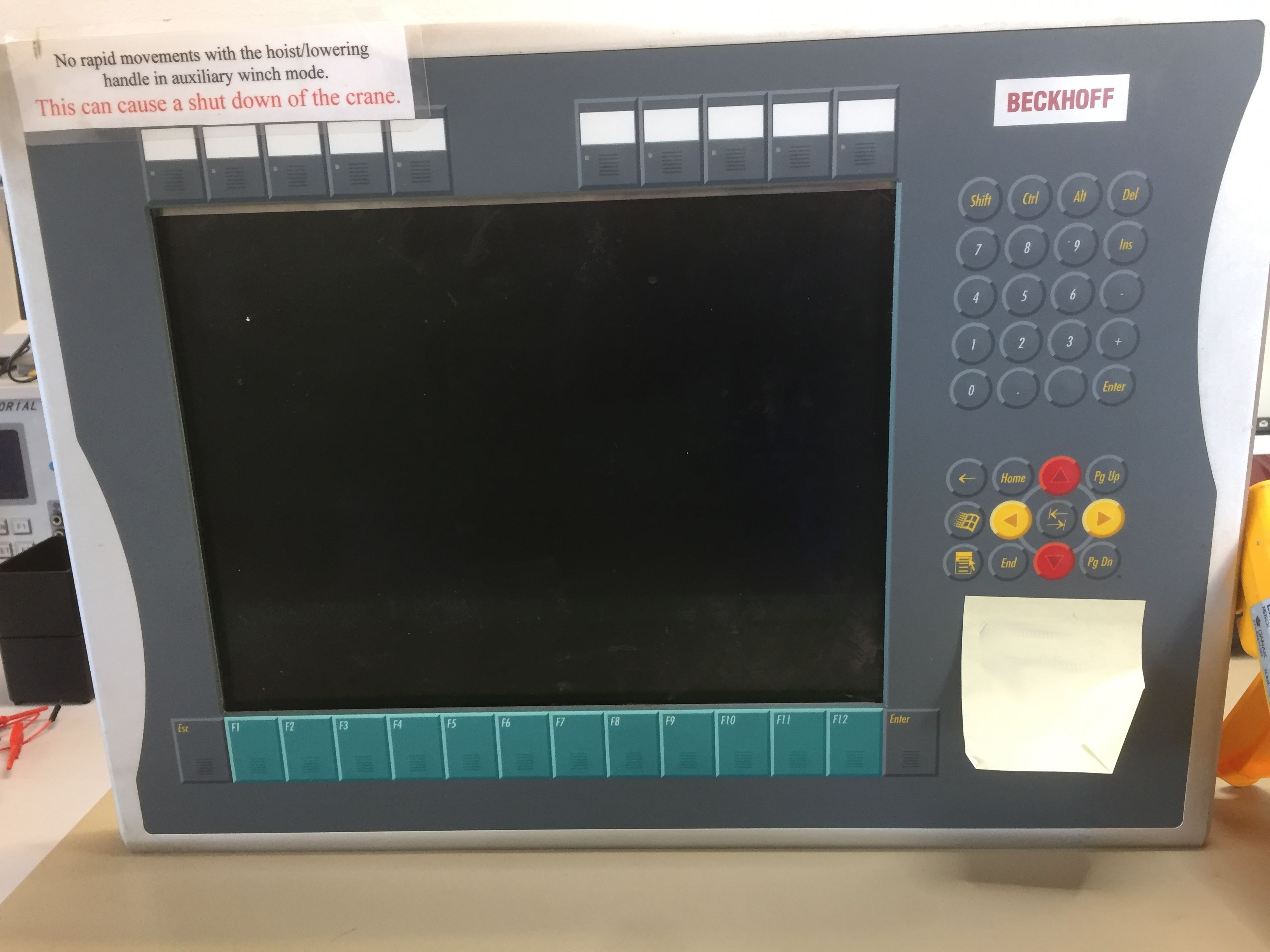 Control panel for crane